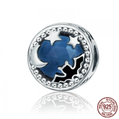 925 Sterling Silver Midnight Moonlit Bat & Star Blue Crystal Charms Beads fit Bracelets & Necklaces Stone Jewelry SCC353