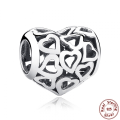 925 Sterling Silver Skeleton Heart Charms fit Bracelets & Necklace for Women Engagement Accessories SCC024