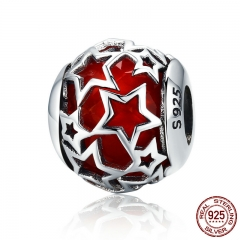 Hot Sale 100% 925 Sterling Silver Shimmering Star Red Crystal CZ Beads fit Women Bracelets & Bangles Jewelry SCC509