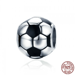 Genuine 100% 925 Sterling Silver Sport Football Love Ball Charm Beads fit Women Bracelet & Necklaces Jewelry SCC666