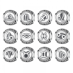 Vintage 925 Sterling Silver Aquarius Star Sign Zodiac Beads Charms fit Bracelets DIY Twelve Constellations PSC048