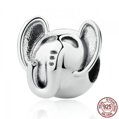High Quality 925 Sterling Silver Elephant Long Nose Big EARS Animal Charms fit Bracelet for Women Fashion Jewelry SCC099