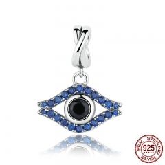 925 Sterling Silver Blue Stone Vivid Wicked Eye Pendants Charms Fit Women Bracelets & Bangles Fashion Jewelry SCC086