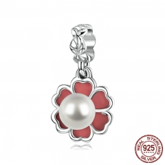 925 Sterling Silver Enamel Freshwater Pearl Flower Clover Pendant Charm Fit Bracelets & Necklaces Chain Jewelry BSC010