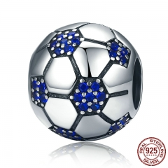 Classic 925 Sterling Silver Sport Love Passion Of Football, Blue Clear CZ Beads fit Charm Bracelets Jewelry Making SCC217