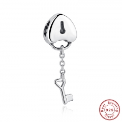Original 100% 925 Sterling Silver Lock Charms Key To My Heart Beads Charm Fit Bracelet & Necklace PAS050