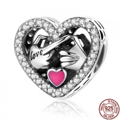 100% 925 Sterling Silver Commitment To Love Hand Pink Enamel Heart Beads fit Women Charm Bracelets Jewelry Gift SCC166