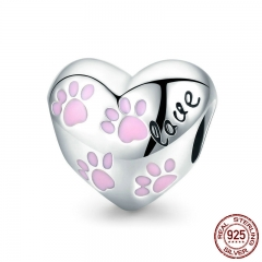 Trendy New 925 Sterling Silver Love Animal Dog Footprints in Heart Shape Beads Fit Women Bracelets DIY Jewelry SCC768