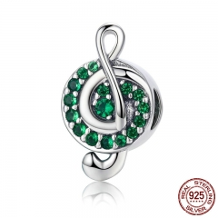 Authentic 100% 925 Sterling Silver I Love Music Note Green Clear CZ Beads Fit Charm Bracelet Beads Jewelry Gift SCC450