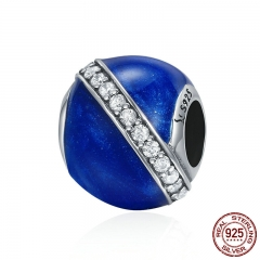 Genuine 925 Sterling Silver Interstellar Trip Clear CZ Blue Enamel Beads fit Women Bracelets DIY Jewelry Making SCC336