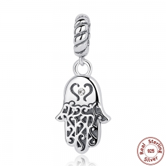 925 Sterling Silver Lucky Hamsa Hand Pendants Charm fit Bracelet & Necklace for Women New Collection SCC031