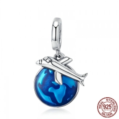 New Arrival 925 Sterling Silver Travel Around World Plane Charm Pendant fit Women Bracelet & Necklaces Jewelry SCC664