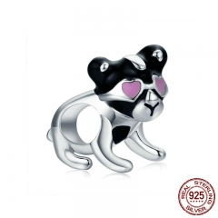 Authentic 100% 925 Sterling Silver Naughty Puppy Dog Doggy Charm Beads fit Women Bracelet & Necklaces Jewelry SCC669