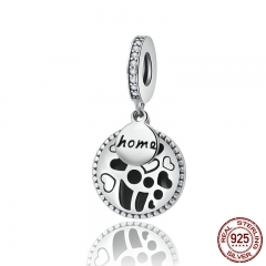 Genuine 925 Sterling Silver Engrave Loving Home Family Charm Heart Clear CZ fit Bracelets & Bangles DIY Jewelry SCC126