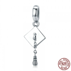 Authentic 925 Sterling Silver Graduate Trencher Cap Long Tassel Pendant Charm fit Women Bracelet DIY Jewelry Gift SCC459