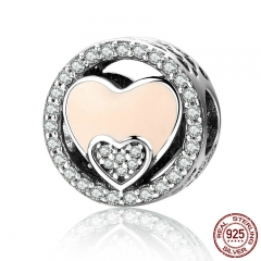 Real 925 Sterling Silver Sweet Double Heart Radiant & Shimmering CZ Beads fit Women Charm Bracelets Jewelry Gift SCC253