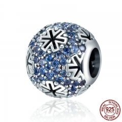 Genuine 100% 925 Sterling Silver Christmas Snowflake Blue CZ Beads fit Original Charm Bracelet DIY Fine jewelry SCC402