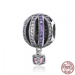 High Quality 925 Sterling Silver Hot Air Balloon Purple Clear CZ Charms Beads fit Bracelets & Necklaces Jewelry SCC352