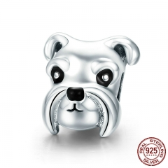 100% 925 Sterling Silver Lovely Animal Schnauzer Dog Charm Beads fit Women Charm Bracelets & Necklaces DIY Jewelry SCC835