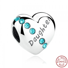 New Blue Crystals 925 Sterling Silver Daughter Heart Charms Fit Bracelet Jewelry Making Family Gift SCC007