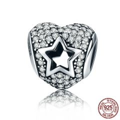 New Arrival 925 Sterling Silver Openwork Engrave Heart Star Sparkling CZ Beads fit Bracelets & Bangles Jewelry SCC322