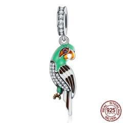 Genuine 925 Sterling Silver Adorable Parrot , Colourful Enamel Dazzling CZ Charms fit Women Bracelets Jewelry S925 SCC218