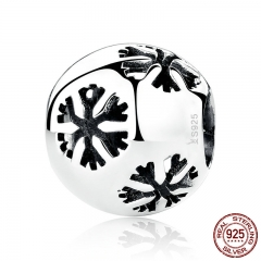 Christmas Gift Popular 925 Sterling Silver Snowflake Bead Charms fit Bracelets & Necklaces Fine Jewelry SCC070
