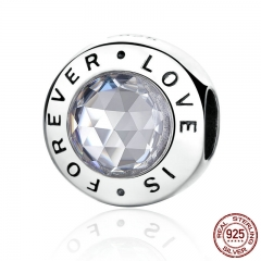 Romantic 925 Sterling Silver Love is Forever Round Charms Fit Bracelets Gift Fine Jewelry PAS342