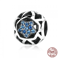 925 Sterling Silver Vintage Blue STARS Beads Charms fit Women Bracelets & Bangles DIY Jewelry SCC057