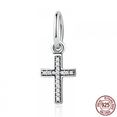 Real 925 Sterling Silver Symbol Of Faith Cross, Clear CZ Beads Charms fit Bracelet Fashion Jewelry PSC009