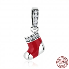 100% 925 Sterling Silver Christmas Socks Red Beads Charms fit Women Bracelets Necklaces DIY Accessories SCC074