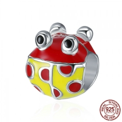 Authentic 925 Sterling Silver Lovely Tree Ladybug Beads fit Women Charm Bracelet & Bangles DIY Jewelry Gift SCC366