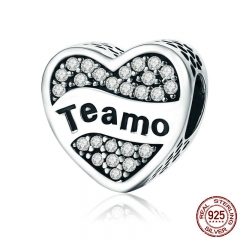 Authentic 925 Sterling Silver Spanish Teamo I Love You Heart CZ Letter Beads Fit Bracelets Fine Jewelry S925 SCC239