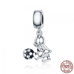 Animal Collection 100% 925 Sterling Silver Little Bear with Ball Love Charm Pendant fit Women Bracelet DIY Jewelry SCC189