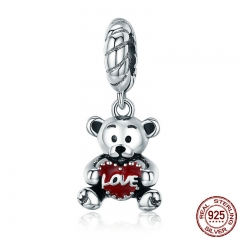 100% 925 Sterling Silver Animal Collection Little Bear with Love Hug Charm fit Charm Bracelet Bangle DIY Jewelry SCC521