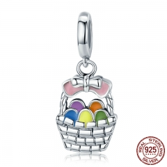 Authentic 925 Sterling Silver Easter Eggs Bowknot Basket Dangle Charm fit Women Charm Bracelet & Necklace Jewelry SCC574