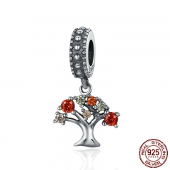 Hot Sale 925 Sterling Silver Autumn Falling Tree of Life Pendant Charms fit Women Charm Bracelets DIY Jewelry SCC224