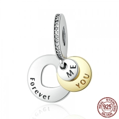 Romantic Gift 925 Sterling Silver You & Me Forever, Clear CZ Round Pendant Charms fit Bracelet DIY Jewelry PSC017