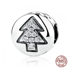 925 Sterling Silver High Quality Christmas Tree Bead Charms fit Bracelets & Necklaces DIY Fine Jewelry SCC064