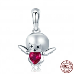 925 Sterling Silver Little Devil Boy & Angel Girl Charm fit Charm Bracelets & Necklaces DIY Jewelry kids Gift SCC830