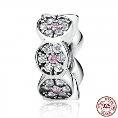 New Arrival 925 Sterling Silver Clearly CZ Pink Silver Spacers Charms fit Bracelet Women Fashion Jewelry SCC101