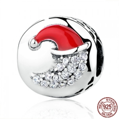 925 Sterling Silver Christmas Moon with Red Hat Charms fit Women Bracelets Bead & Jewelry Makings Christmas Gift SCC067