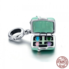 100% 925 Sterling Silver Macaron candy Box Love Bowknot Charm Pendant fit Women Bracelet & Necklace Jewelry Gift SCC663