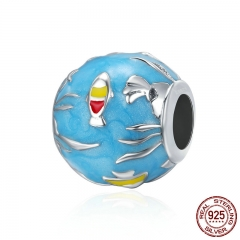 New Design 100% 925 Sterling Silver Undersea World & Blue Enamel Beads fit Charm Bracelets & Bangles Fine jewelry SCC235