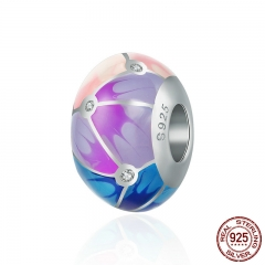 Authentic 100% 925 Sterling Silver Colorful Enamel Round Charm Beads fit Girl Charm Bracelet & Bangle Jewelry S925 SCC497