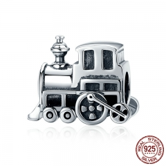 100% Real 925 Sterling Silver Vintage Locomotive Train Car Charm fit Women Charm Bracelet DIY Jewelry Making SCC507
