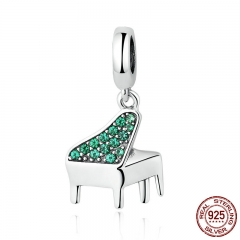 Real 925 Sterling Silver Green Clearly CZ, Music Piano Pendant Charms fit Bracelets Women Fashion Jewelry SCC111