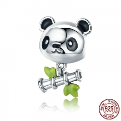 Real 100% 925 Sterling Silver Lovely Bamboo & Panda Animal Charm fit Girls Charm Bracelet DIY Jewelry Girls Gift SCC325