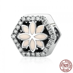 925 Sterling Silver Pink Flower Beads Charms with Small Crystals fit Women Bracelets & Bangles Jewelry SCC055