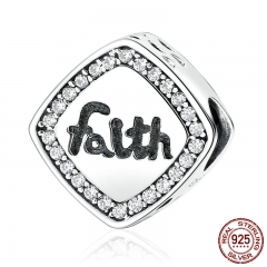 "Friendship Gift 925 Sterling Silver Letter ""Faith"" Bead Charms Fit Bracelets & Bangles Women DIY Fashion Jewelry SCC090"